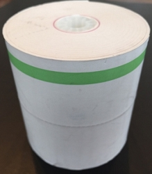 Heavyweight Thermal Roll Paper w/ Green Side Stripe and Center Perforation 80mm