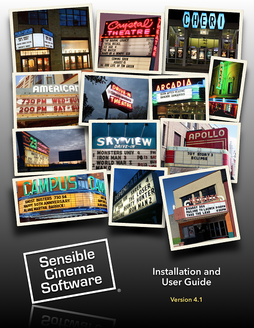 NEW Sensible Cinema User Guide v4.1x Printed/Bound Soft Back, English  - October 2015